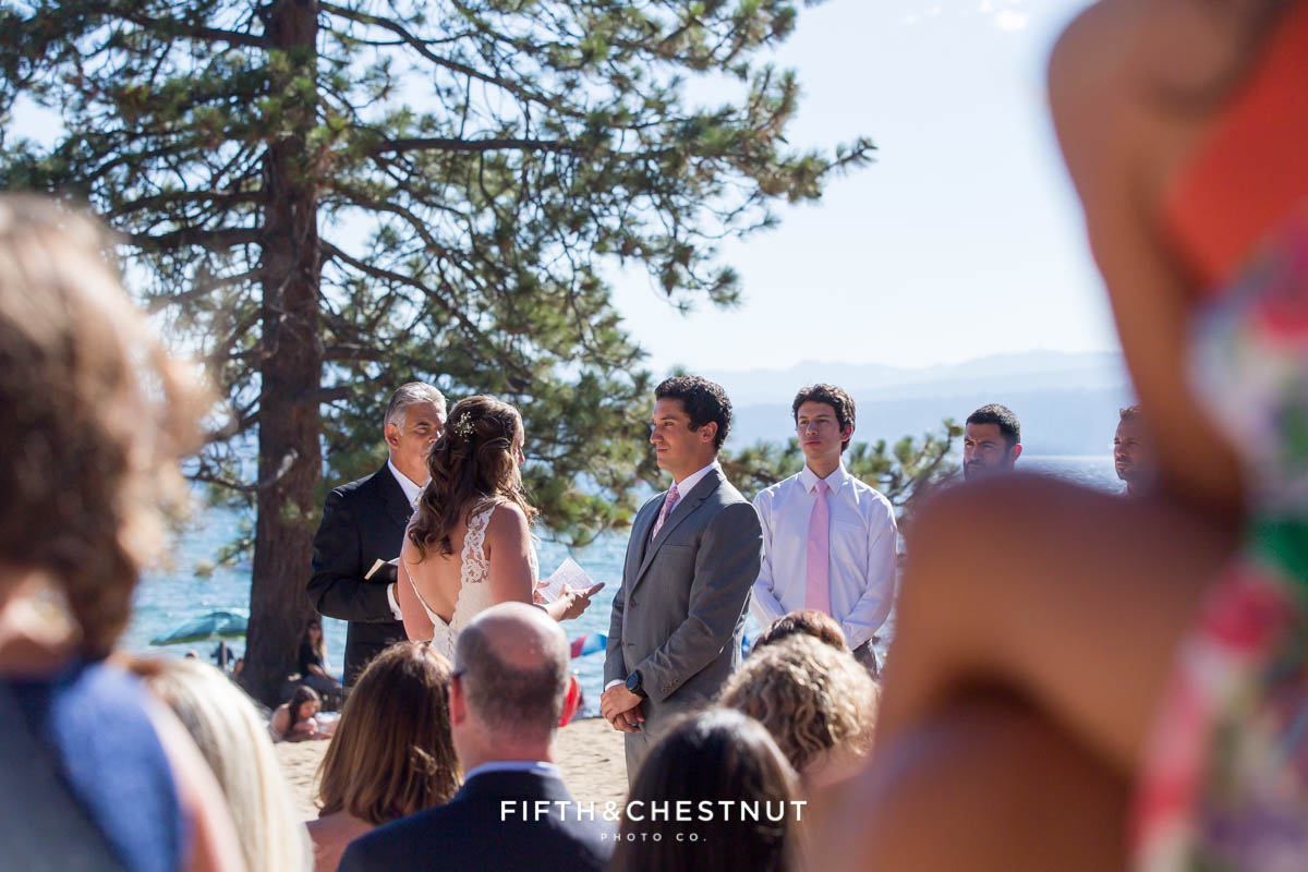 North Lake Tahoe Wedding ceremony on the beach by Tahoe Photographer