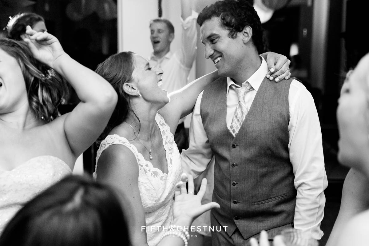 Bride and groom dancing at their North Lake Tahoe wedding reception in Lake Tahoe