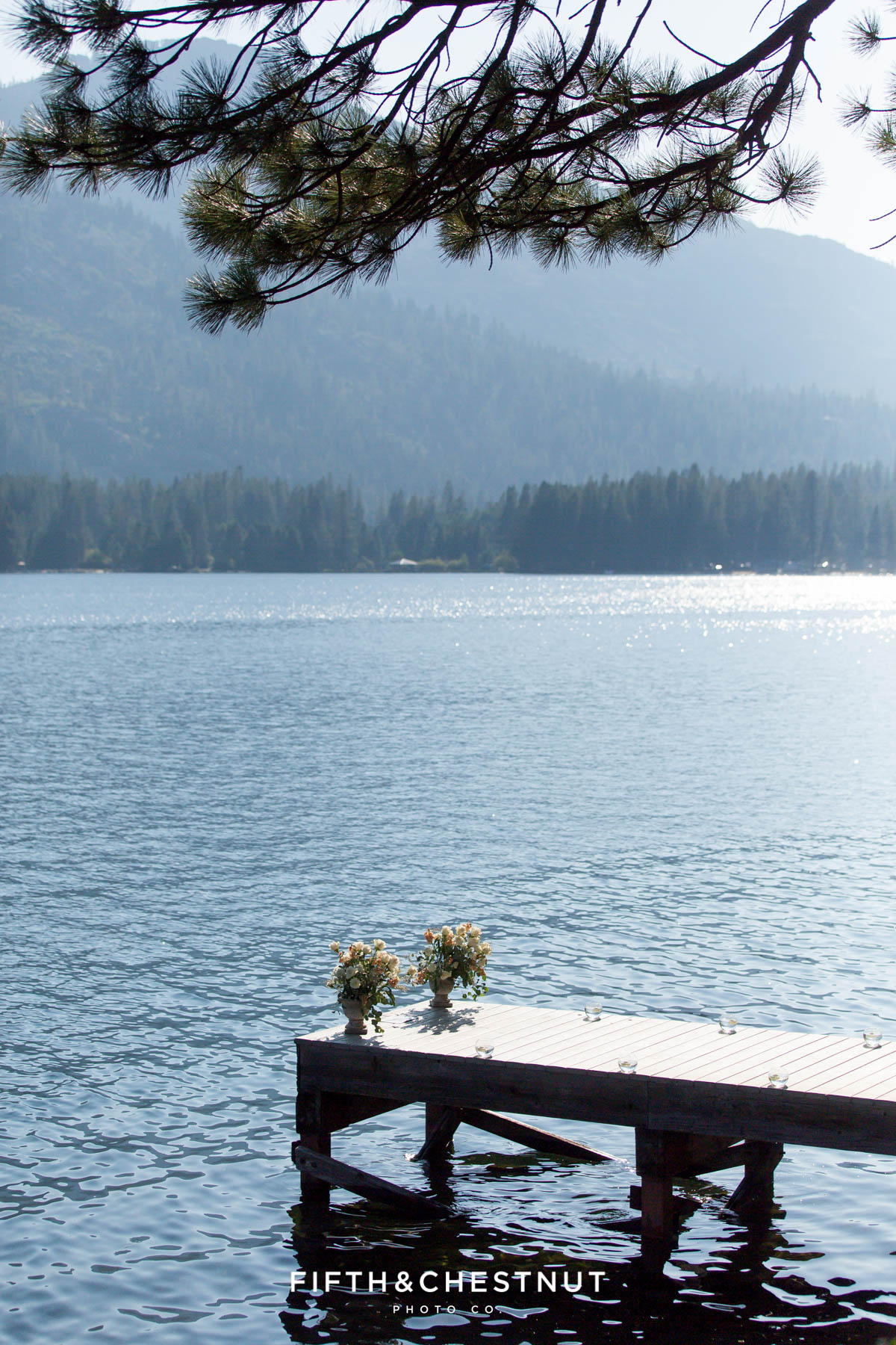 A decorated dock for a Donner Lake Proposal on a sunny summer day