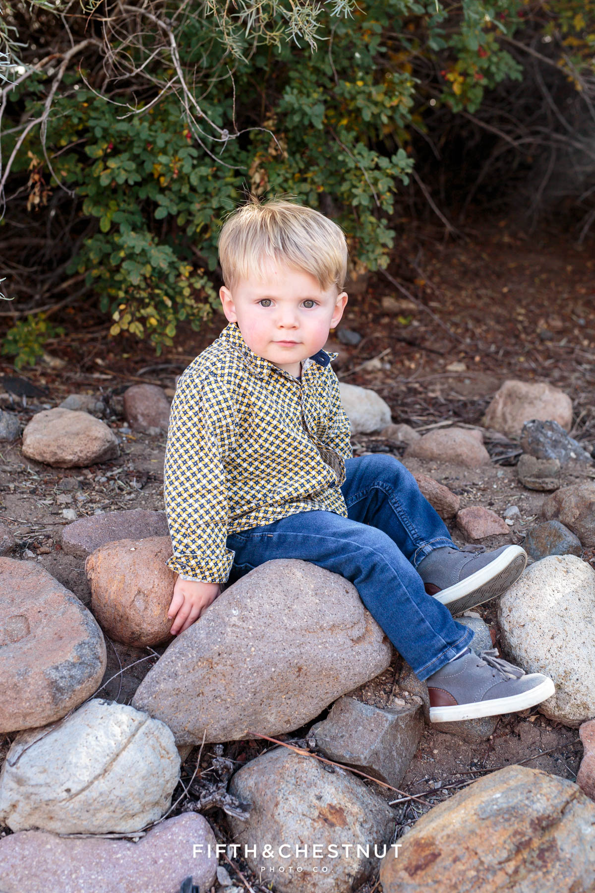 newly adopted little boy sits on rocks for Bartley Ranch Portraits by Reno Family Photographer