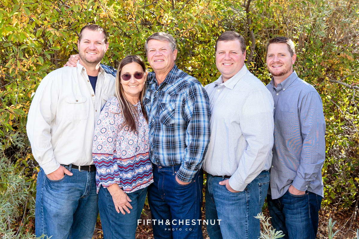 parents with their three grown sons for Bartley Ranch Portraits by Reno Family Photographer