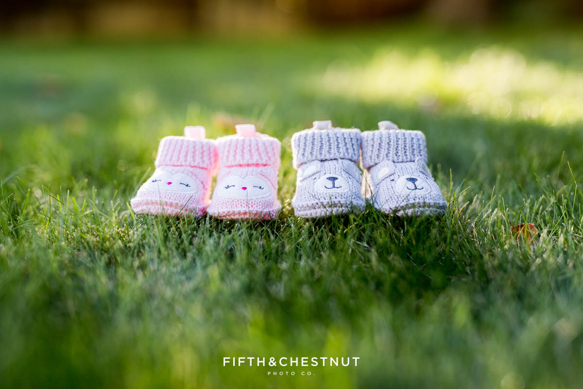 Twin Gender reveal with pink booties and gray booties