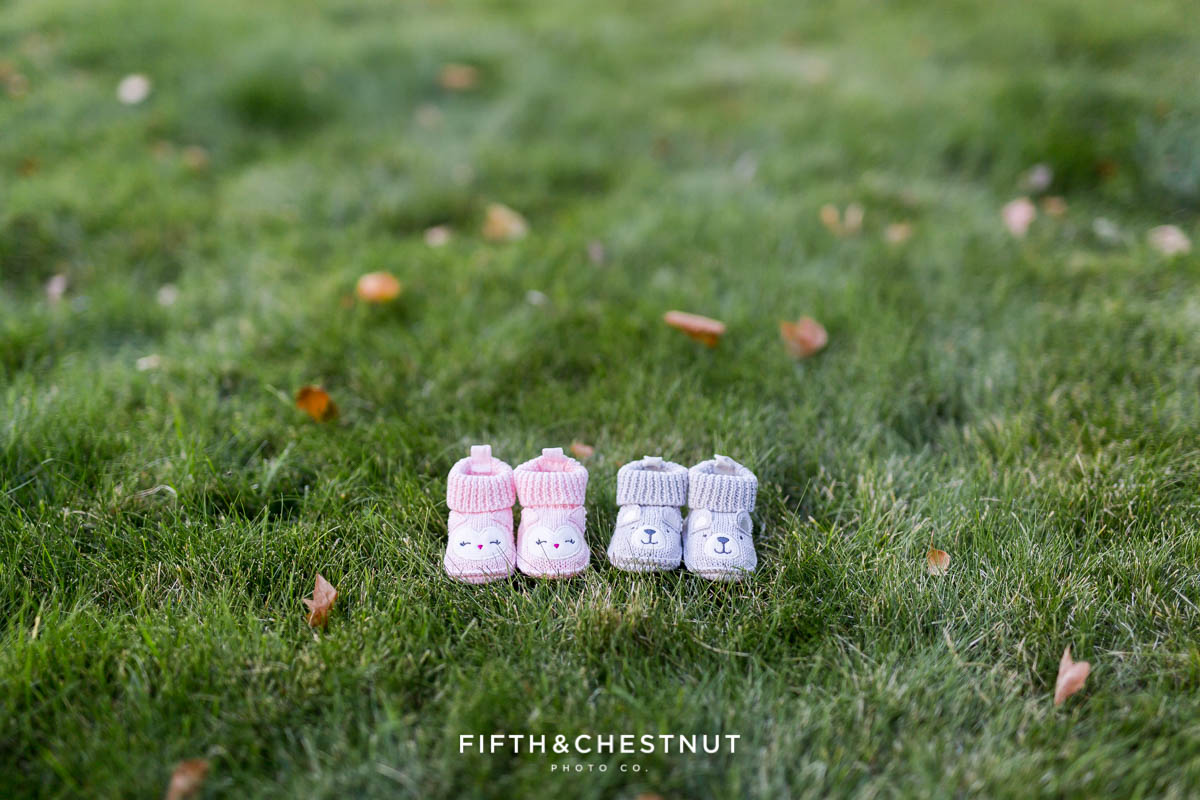 Twin Gender reveal with pink booties and gray booties on grass