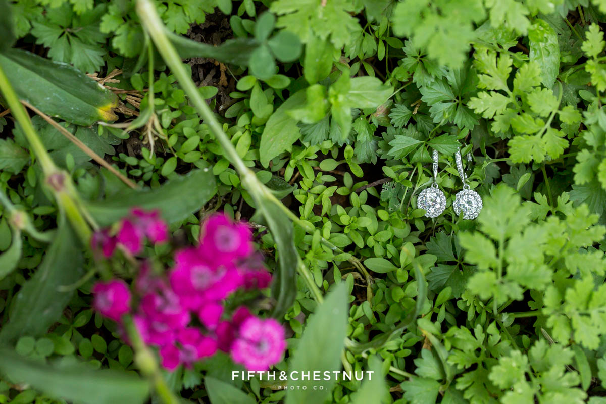 sparkly wedding earrings in flowers for a Greenhorn Creek Guest Ranch Wedding