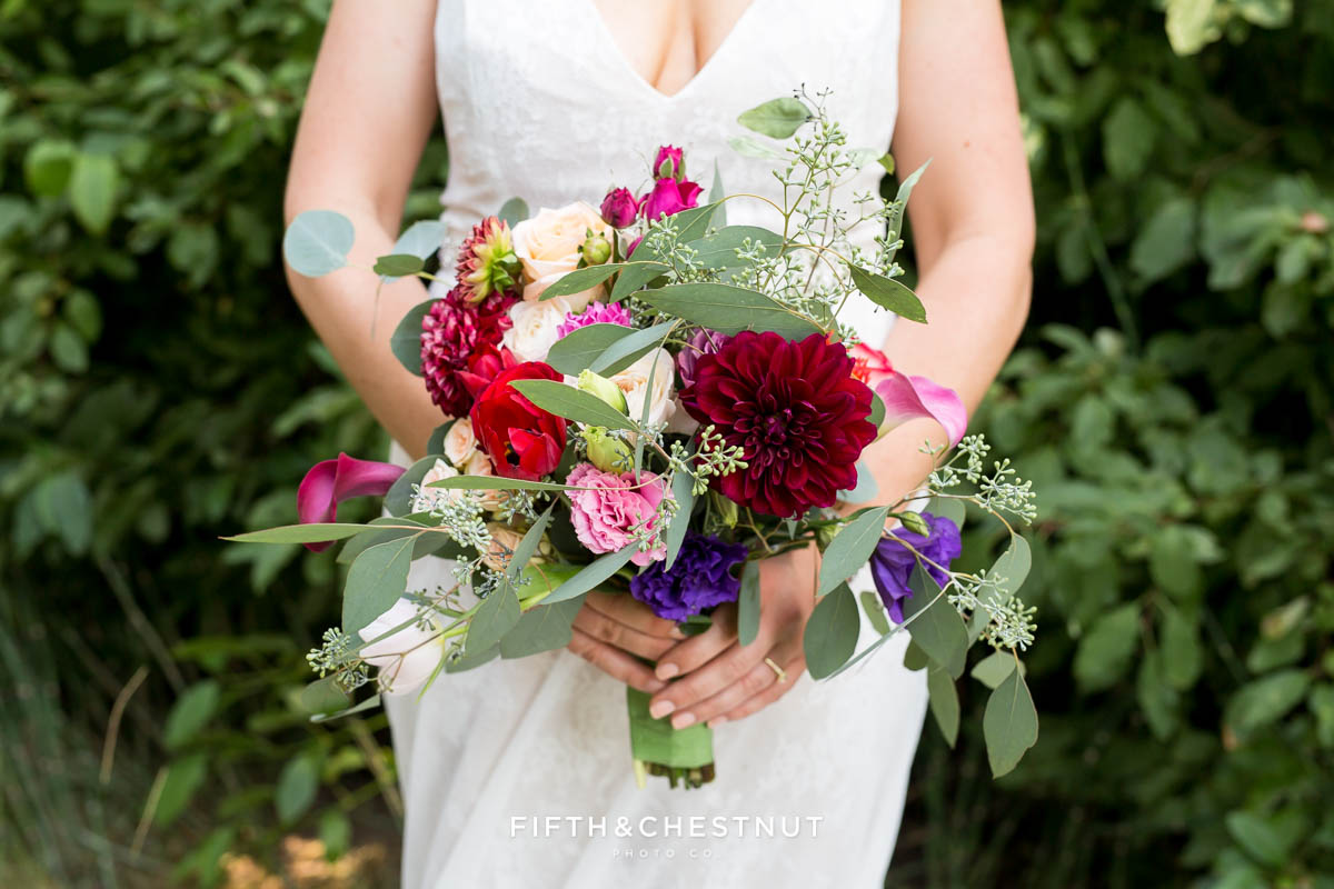 bright and summery wedding bouquet for a Greenhorn Creek Guest Ranch Wedding