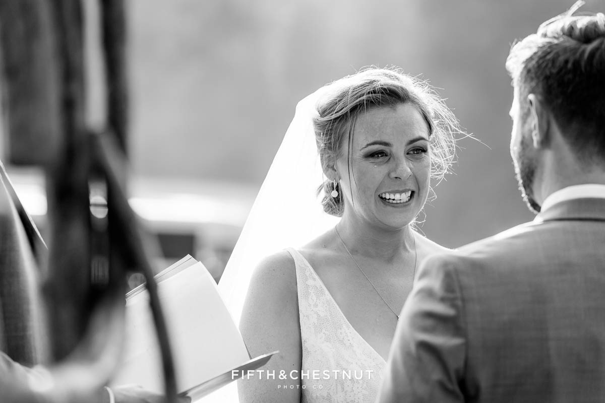 bride cries tears of joy at her Greenhorn Creek Guest Ranch Wedding ceremony
