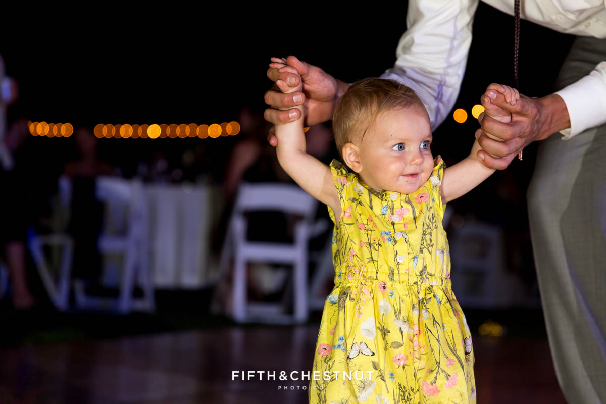 toddler on the dance floor at a Greenhorn Creek Guest Ranch Wedding