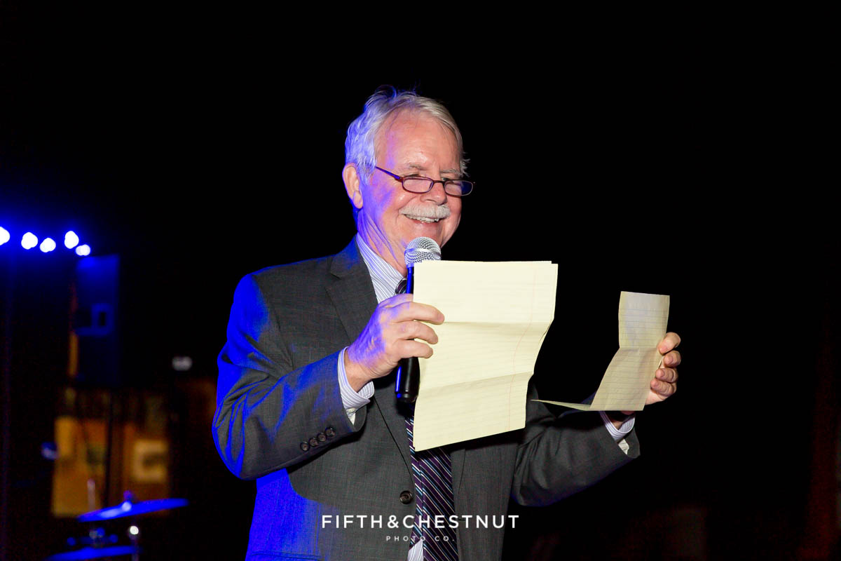 father of the groom makes a toast to the couple at a Greenhorn Creek Guest Ranch Wedding