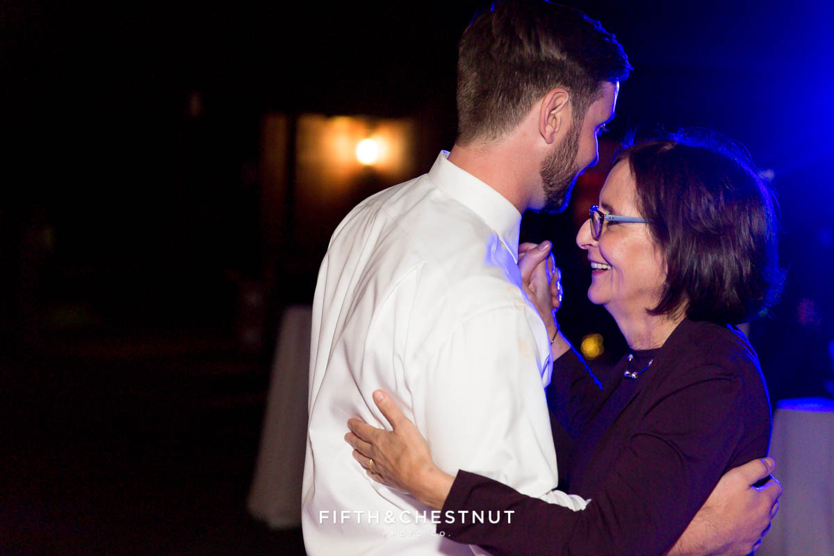 groom dances with his mother at a Greenhorn Creek Guest Ranch Wedding