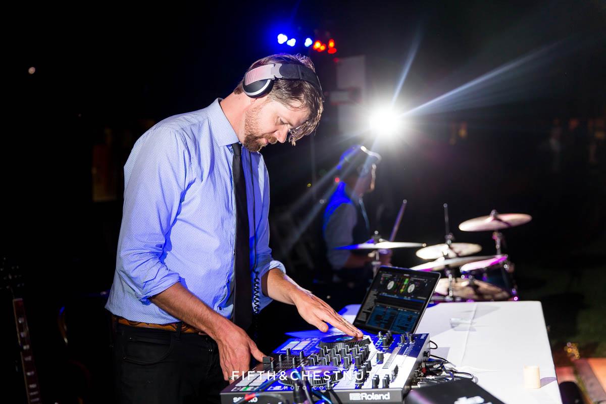 dj lays the beats down during a Greenhorn Creek Guest Ranch Wedding