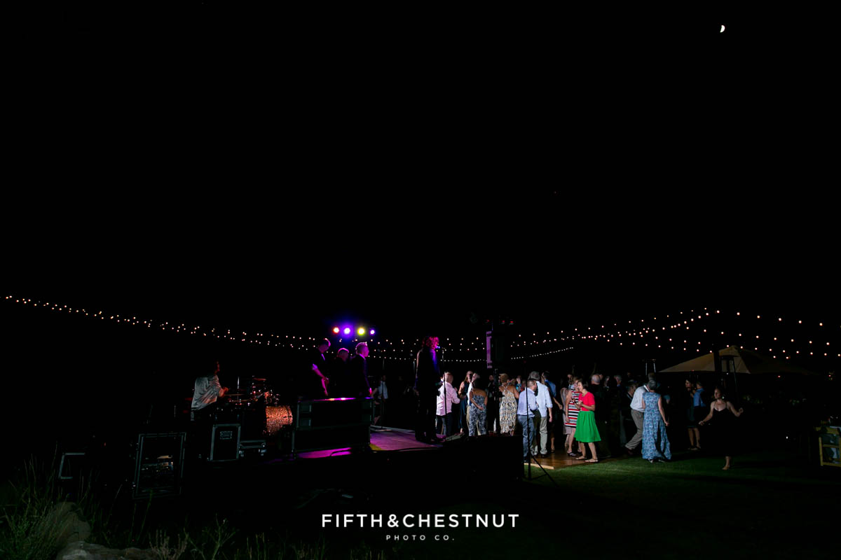 A PJ's at Gray's Crossing wedding as seen in the dark at the end of the night from Truckee Wedding Photographer