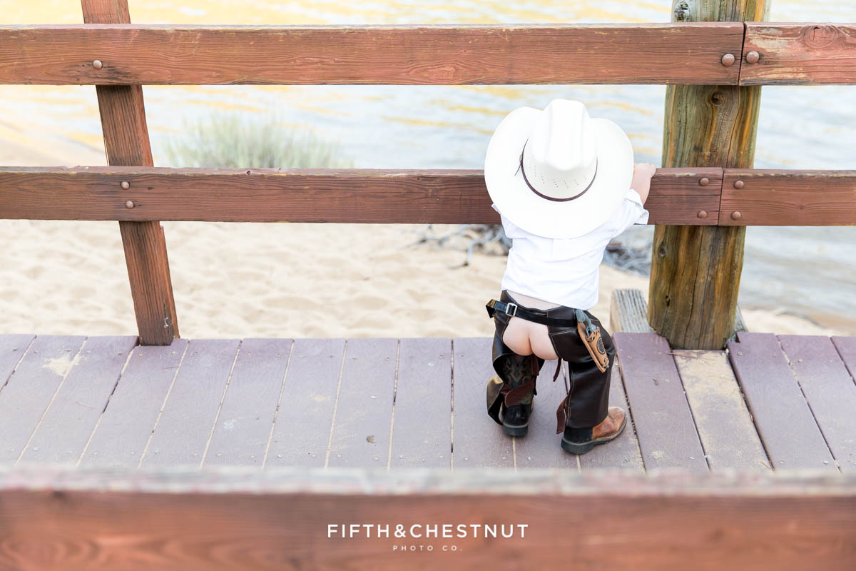 toddler in assless chaps and a cowboy hat at sand harbor