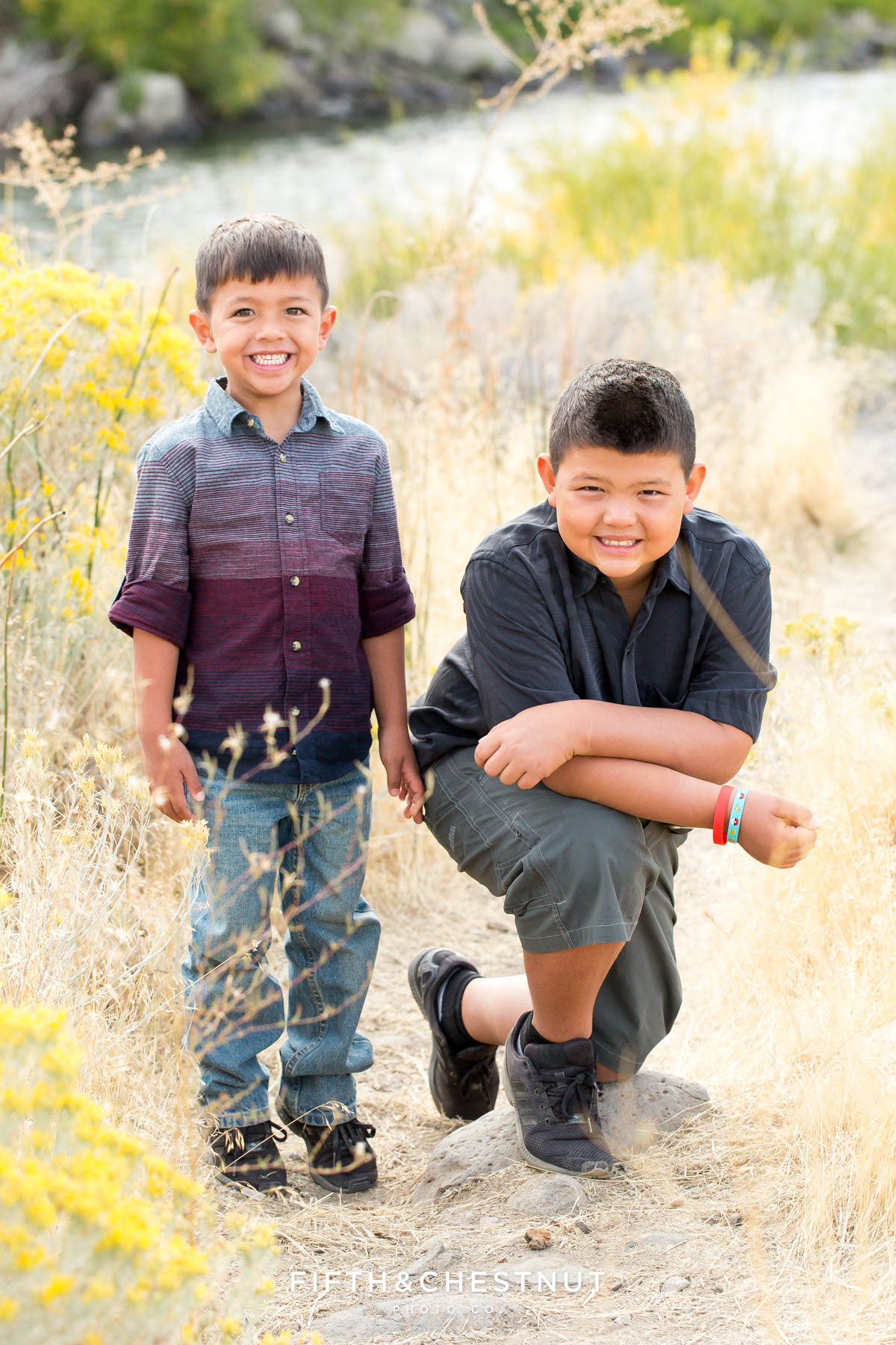 brothers pose for vibrant fall portraits at Mayberry Park