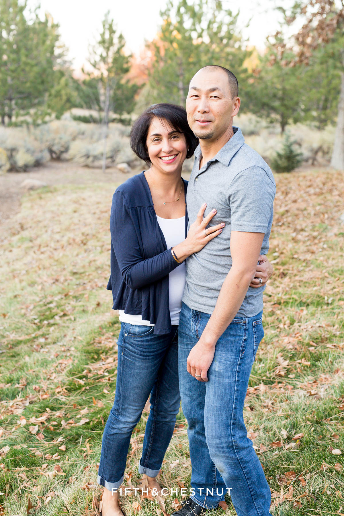Portrait of husband and wife during Caughlin Ranch Family Portraits in the fall