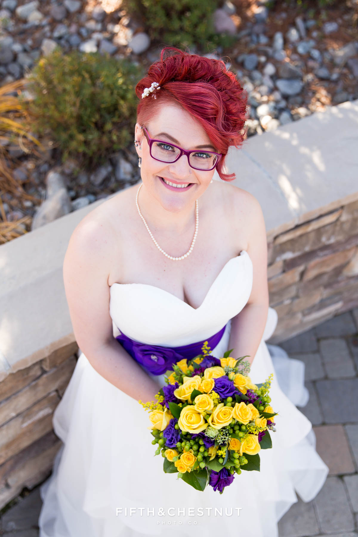 photo of bride from above before her Bright fall wedding at the Grove by Reno Wedding Photographer