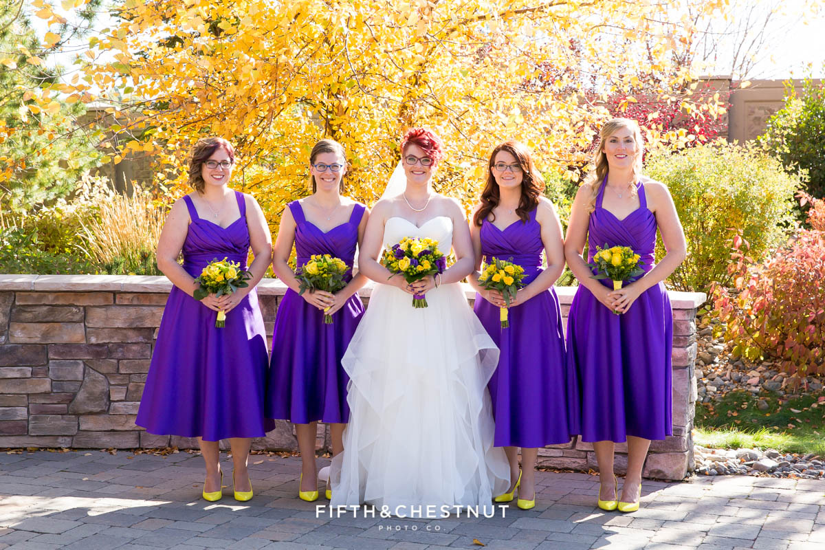 Bridal party for a Bright fall wedding at the Grove by Reno Wedding Photographer
