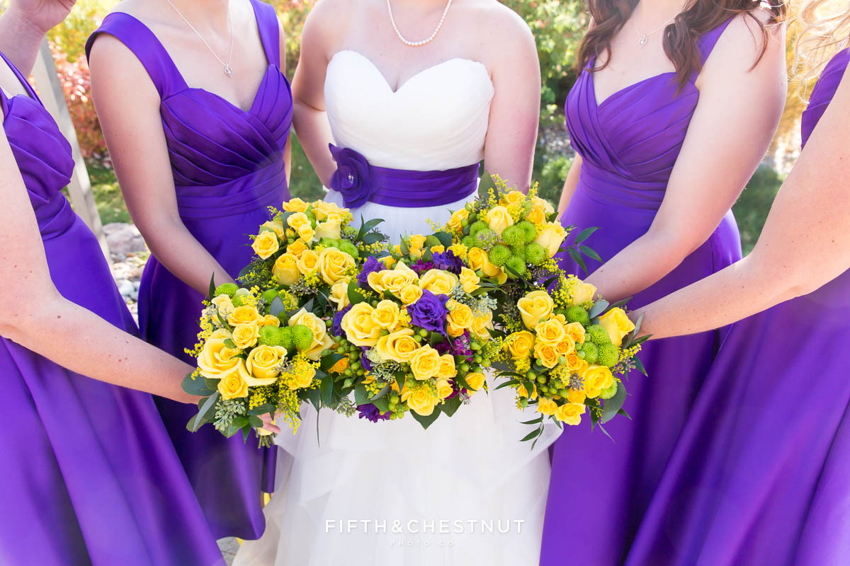 closeup of bridal party bouquets for a Bright fall wedding at the Grove by Reno Wedding Photographer