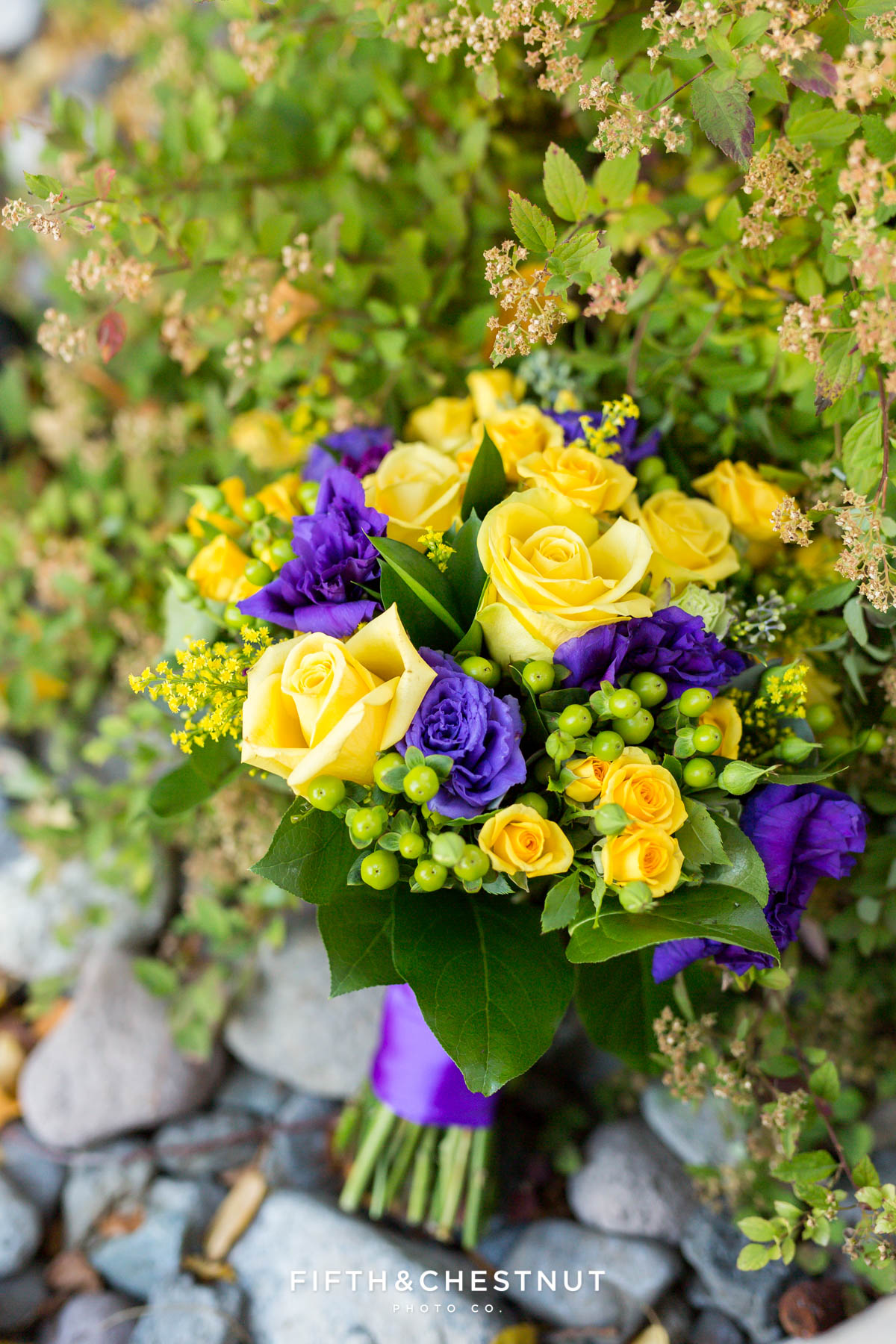 bright yellow and purple fall bouquet by Serendipity florist for a Bright fall wedding at the Grove by Reno Wedding Photographer