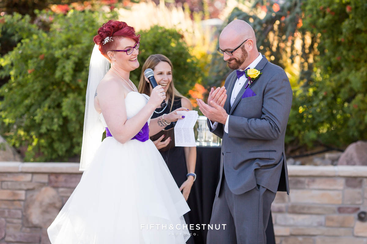 Wedding ceremony of a Bright fall wedding at the Grove by Reno Wedding Photographer