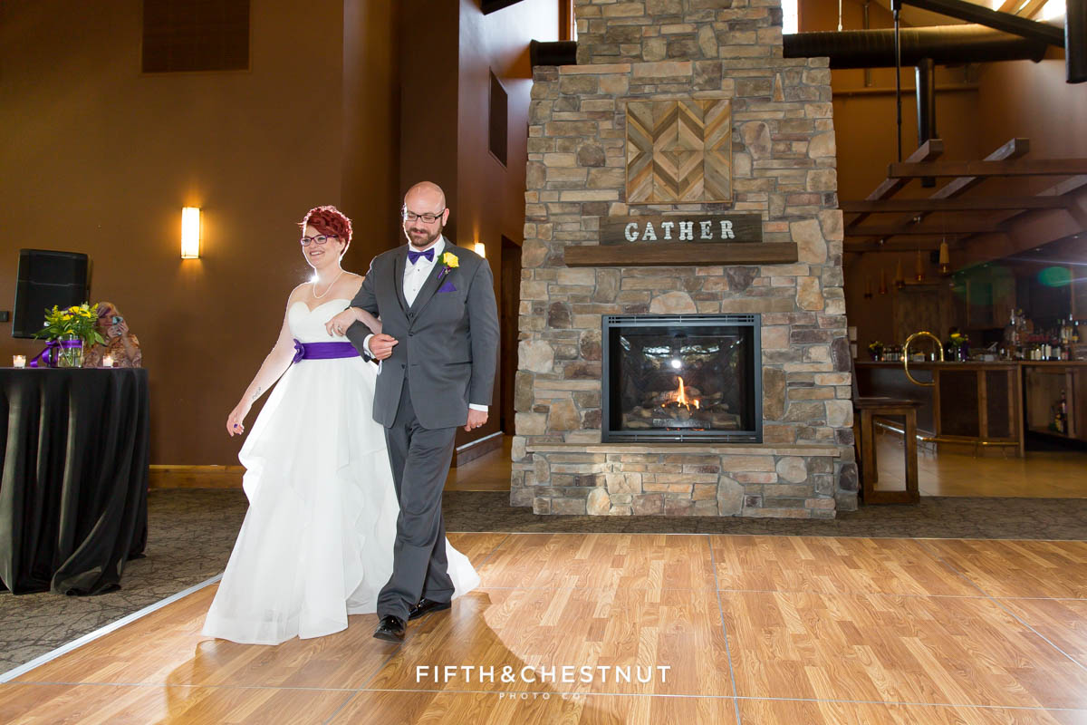 bride and groom first dance at a Bright fall wedding at the Grove by Reno Wedding Photographer