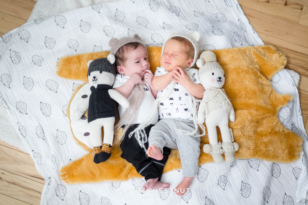 Twin baby portrait on fox and hedgehog blanket by Reno baby Photographer