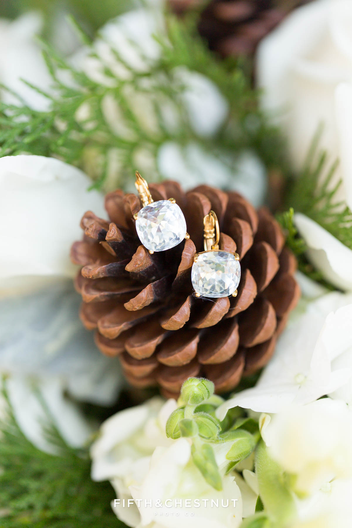 Wedding jewelry on pinecone for a zephyr cove wedding by lake tahoe wedding photographer