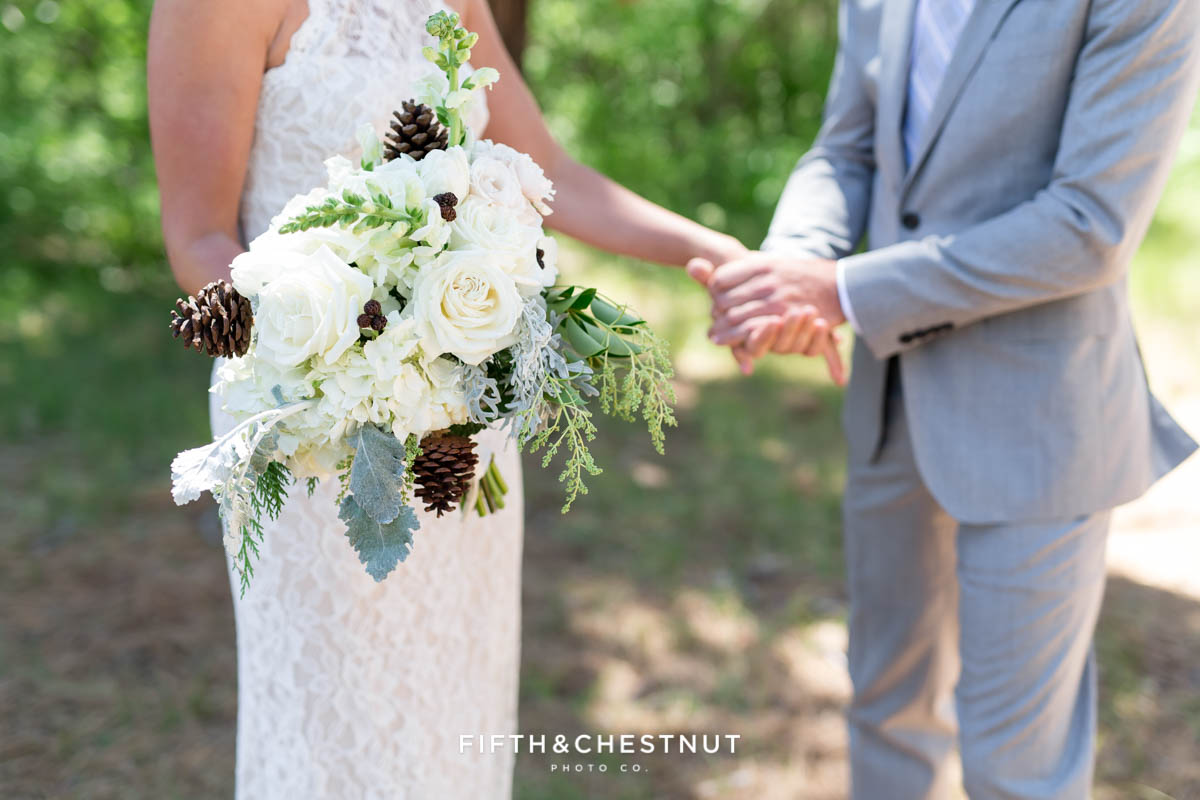 wedding bouquet by Twine and Dandy for a zephyr cove wedding by lake tahoe wedding photographer