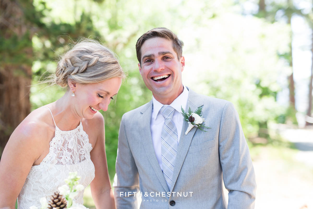 groom laughing with his bride in zephyr cove