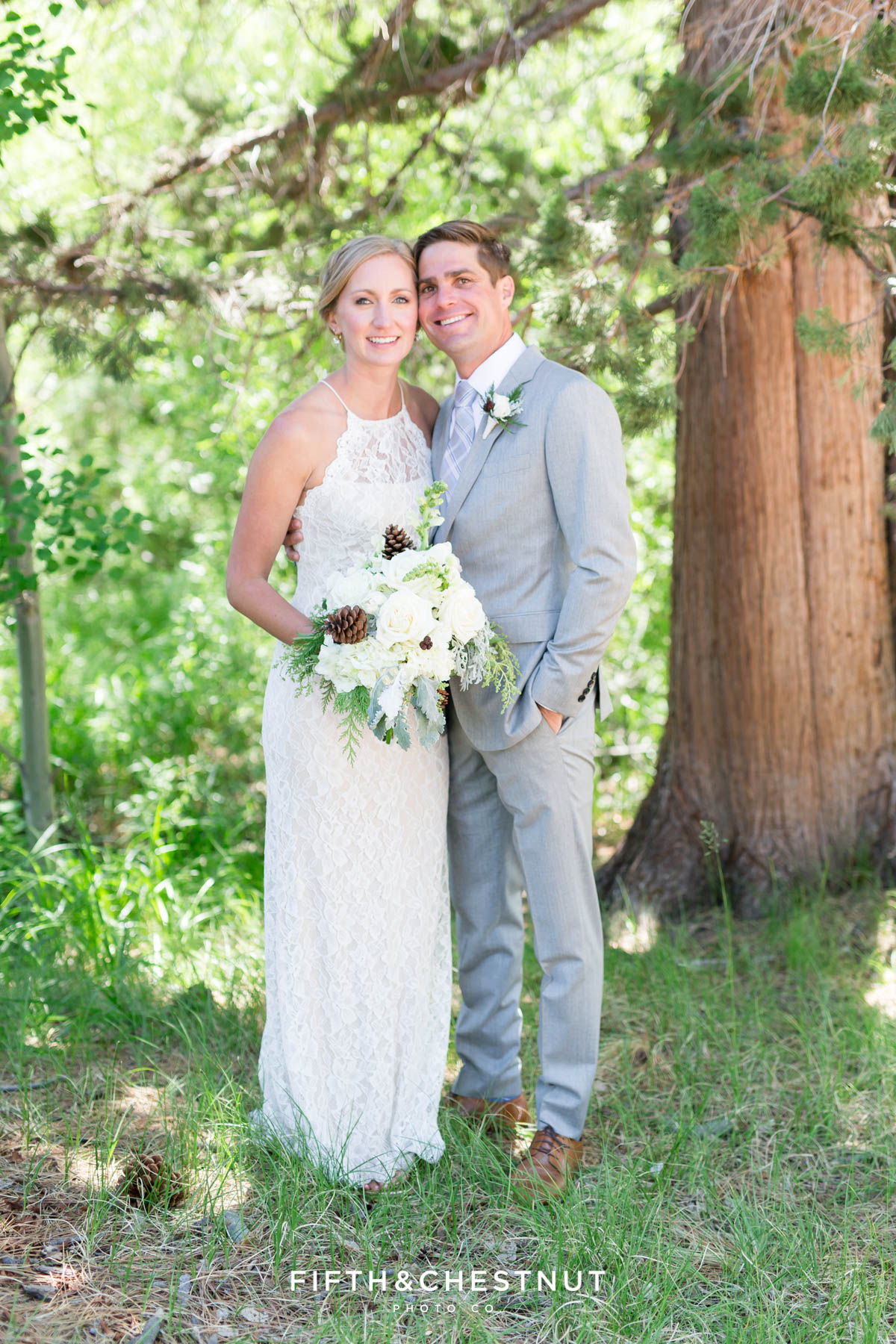 traditional portrait of a bride and groom for their zephyr cove wedding by lake tahoe wedding photographer