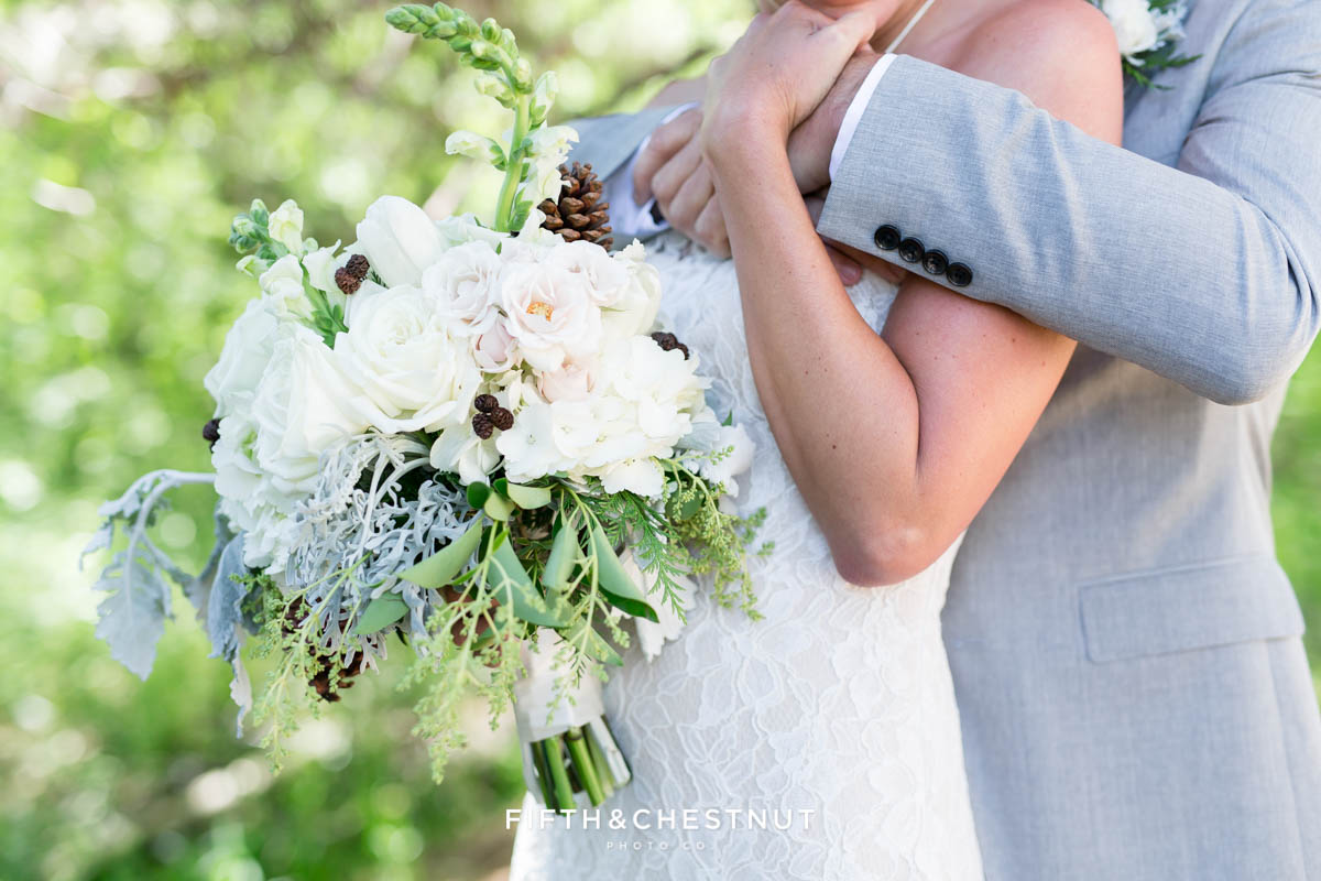 close up of twine and dandy bouquet for a zephyr cove wedding by lake tahoe wedding photographer