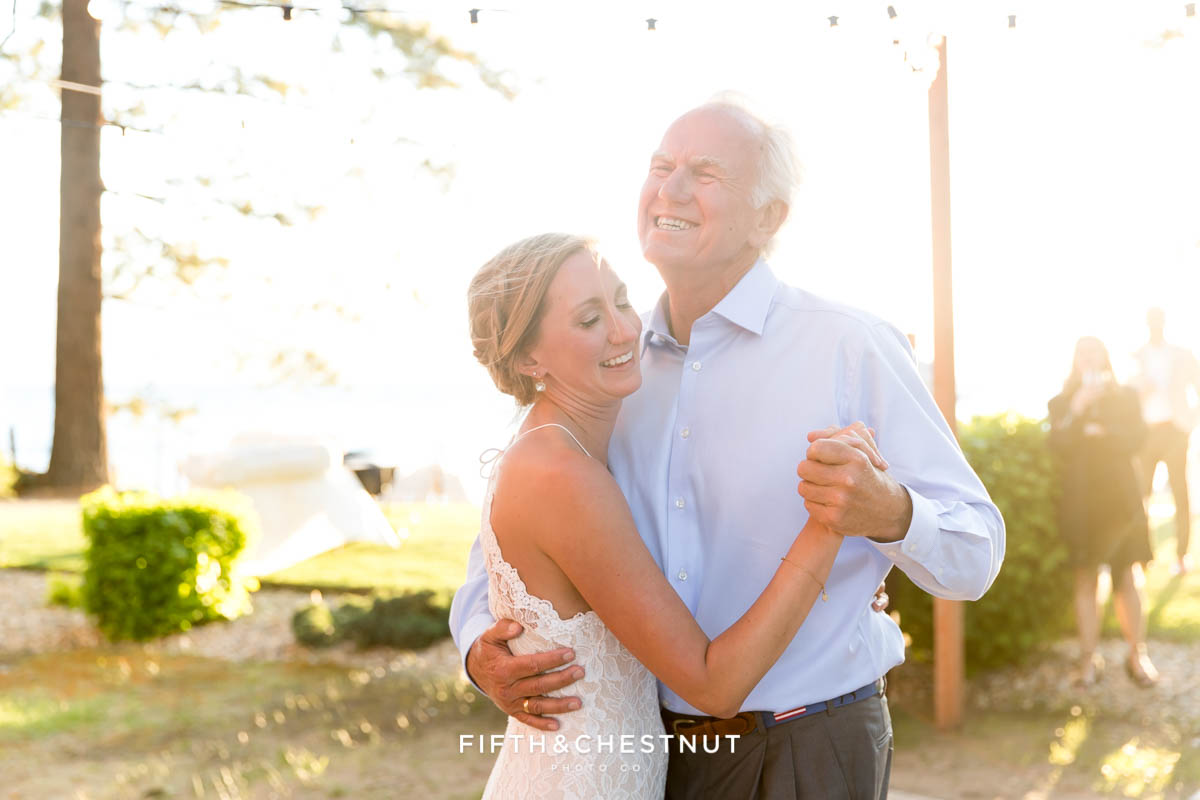 father daughter dance at a lake tahoe wedding