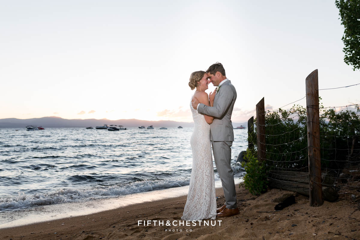 bride and groom portrait at sunset at zephyr cove
