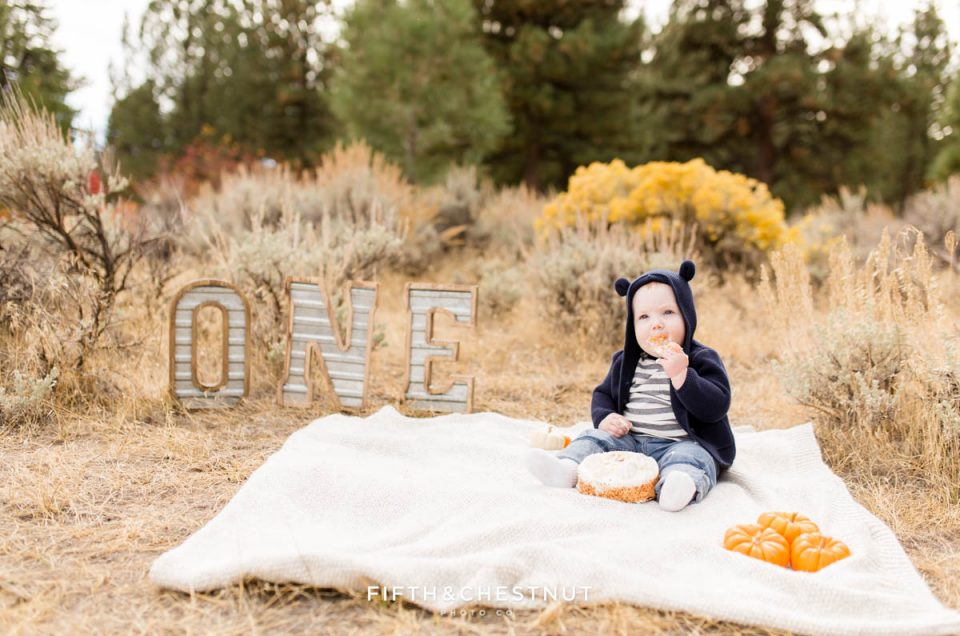 Fall Desert Baby Boy One Year Cake Smash Photos | Theo is ONE!
