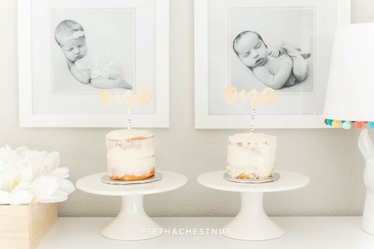 Nearly naked cakes for a cute bohemian cake smash for twins