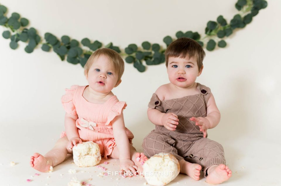 Cute Bohemian Cake Smash for Boy Girl Twins by Reno Baby Photographer