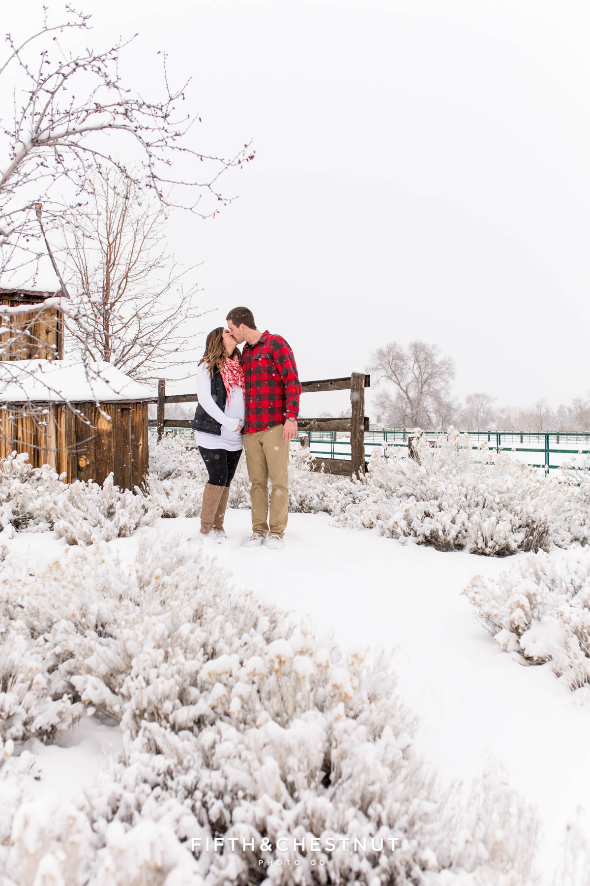 Snowy Reno maternity photos at Bartley Ranch by Reno Maternity Photographer