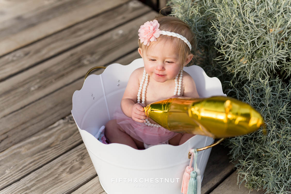 Rustic Spring Baby Girl One Year Portraits at Bartley Ranch by Reno Baby Photographer