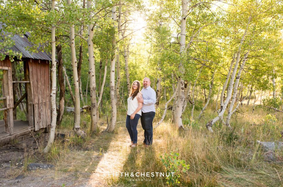 Casual and fun Truckee engagement photos in a Tahoe meadow by Lake Tahoe Wedding Photographer