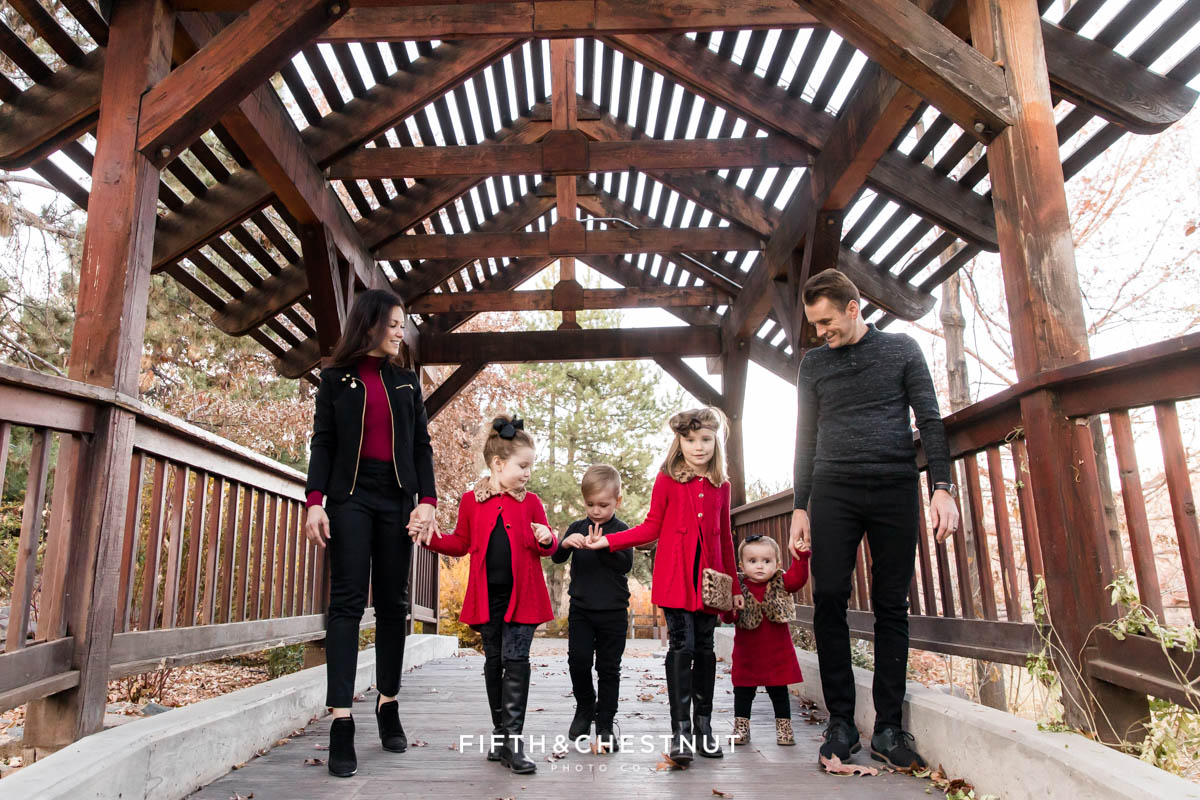 Elegant Red and Black Reno Fall family portraits at Rancho San Rafael by Reno Family Photographer