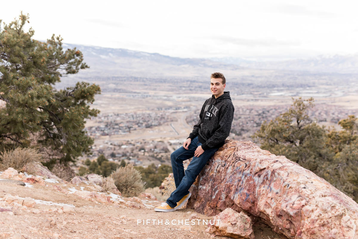 Geiger Grade Overlook Winter Reno High School Senior Portraits by Reno High School Senior Photographer
