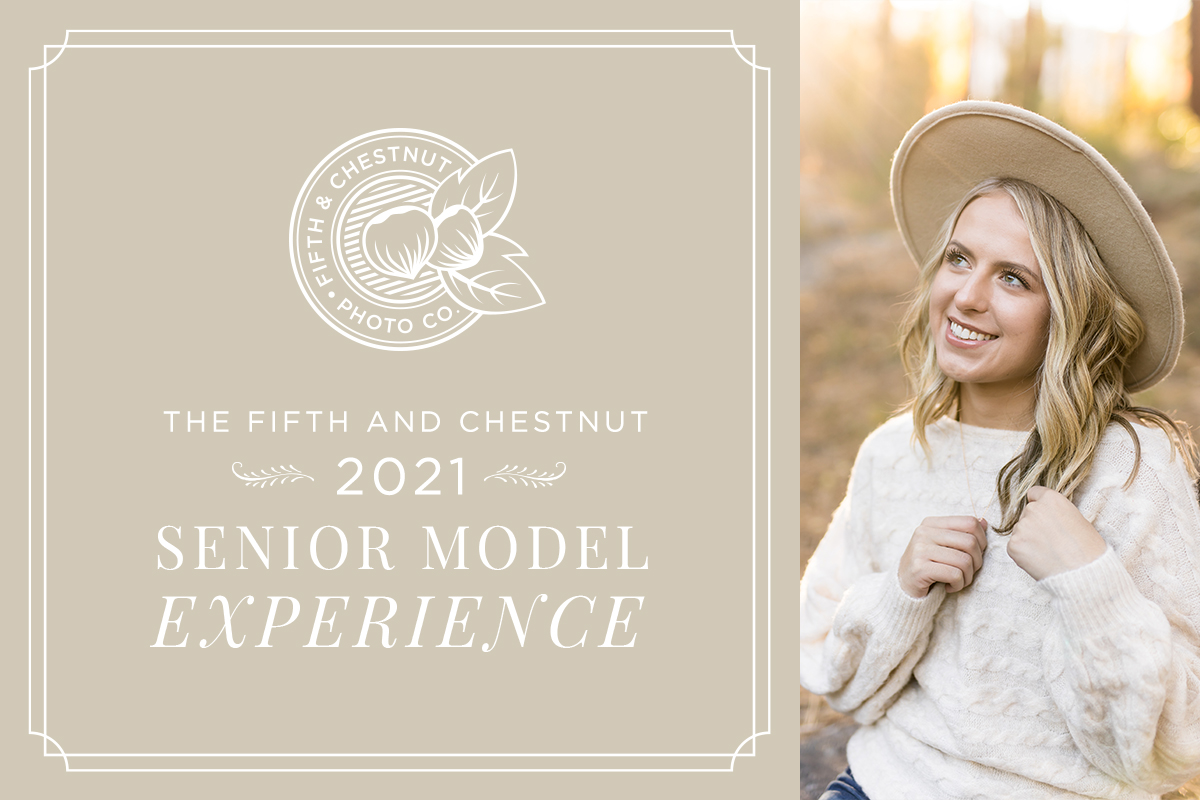 Fifth and Chestnut 2021 Senior Model Team Info Header with image of Reno High Senior in the Fall by Reno Senior Photographer
