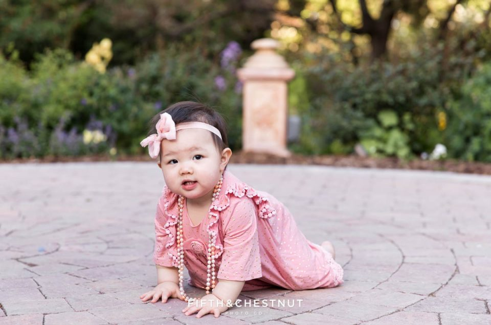 Floral Spring One Year Portraits at Rancho San Rafael by Reno Child Photographer