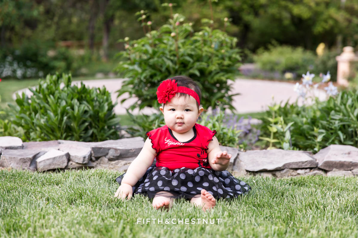Spring one year portraits of one year old girl at Rancho San Rafael in May by Reno Child Photographer