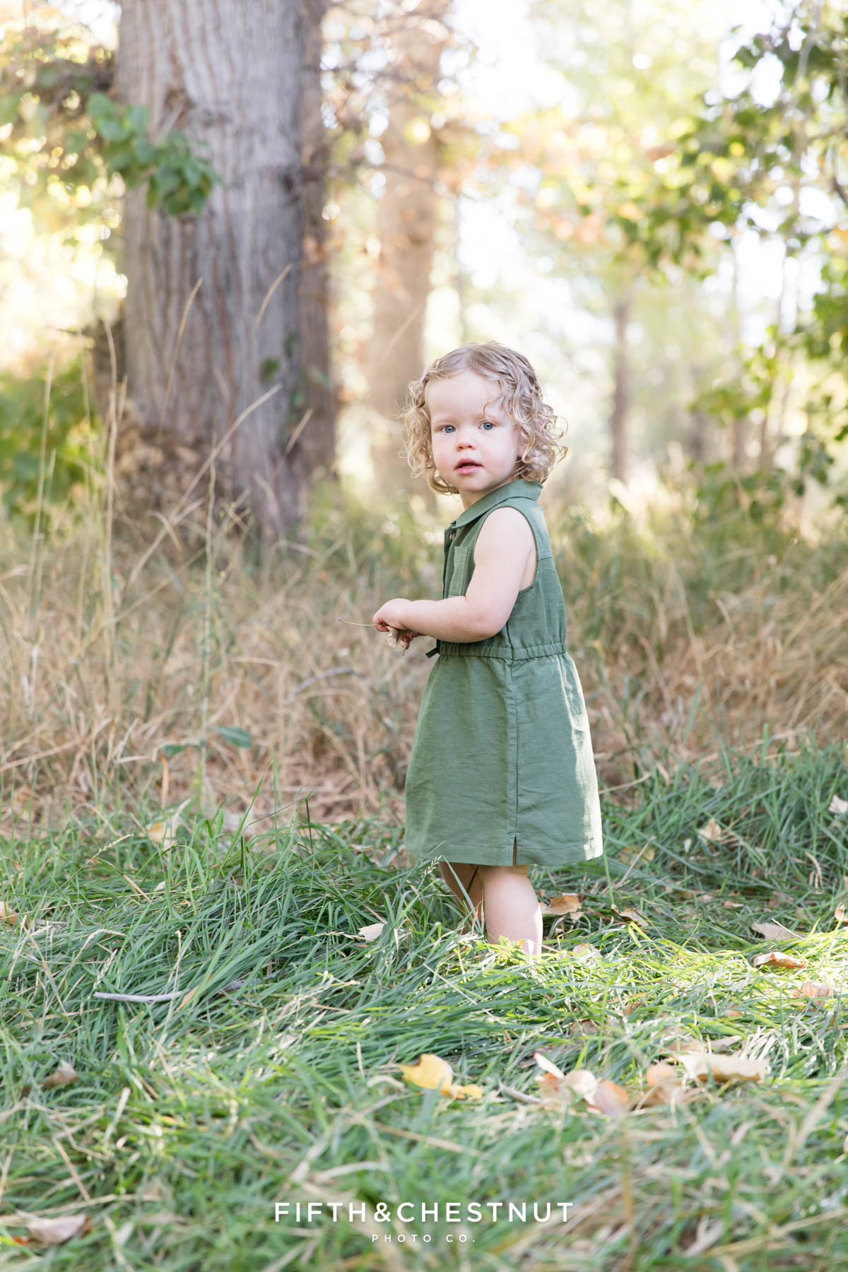 Toddler wanders in grassy field during earthtone family portraits by Reno Family Photographer