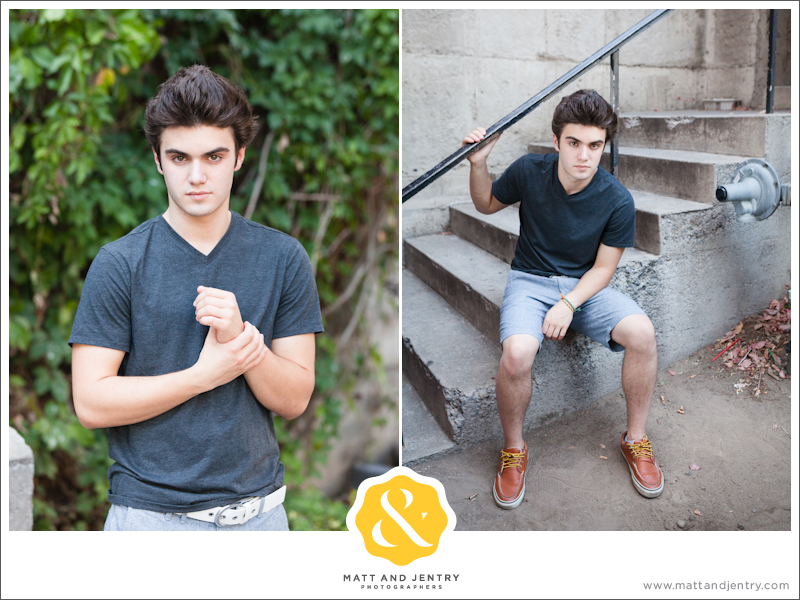 Senior Portraits in Reno at West Street Market by Church on First Street and on stairs