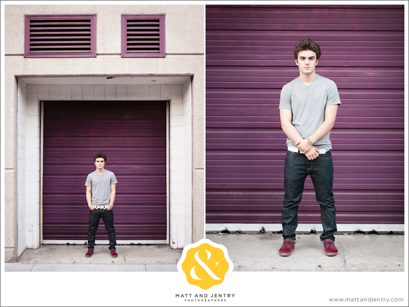 Senior Portraits in Reno at West Street Market in alleyway in front of purple garage doors