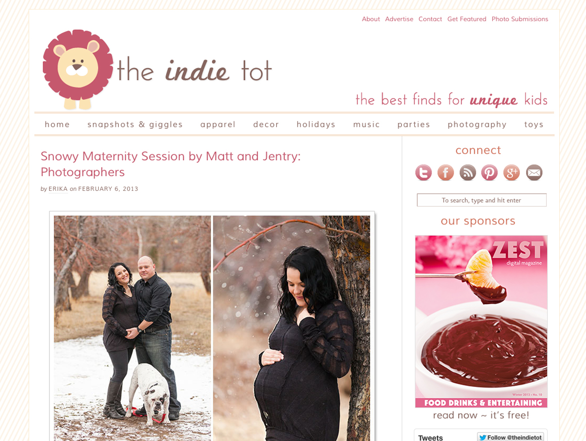 Matt and Jentry: Photographers published on the Indie Tot with snowy maternity photos in reno with reno maternity photographer