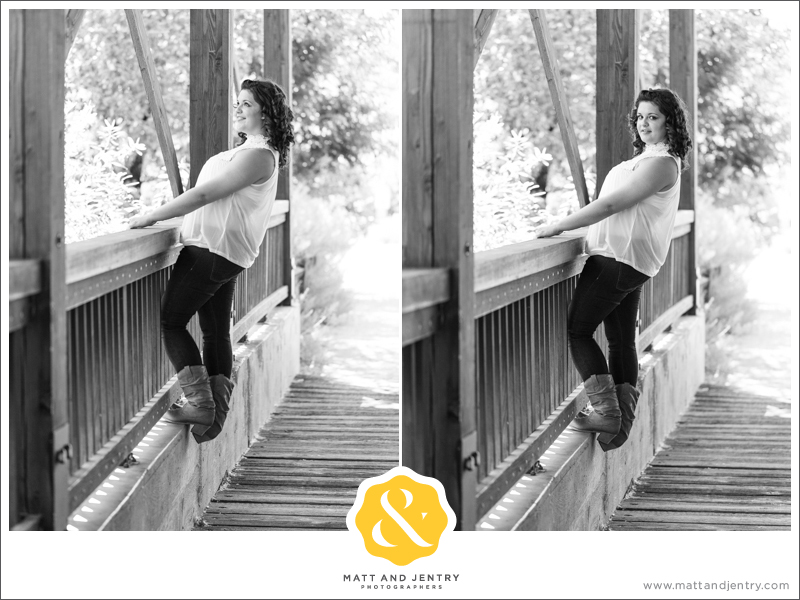 Senior Photos with Reno Senior Photographer Matt and Jentry at Bartley Ranch, NV with senior Model Monay on bridge to Bartley Ranch leaning back