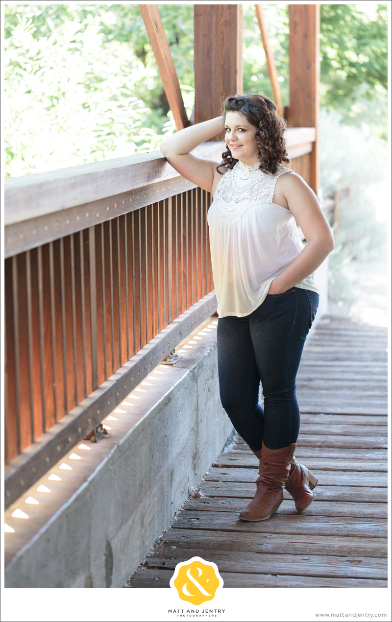 Senior Photos with Reno Senior Photographer Matt and Jentry at Bartley Ranch, NV with senior Model Monay next to bridge to Bartley Ranch