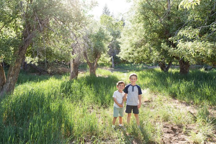 Two boys stand together in a lush summer meadow for Reno Family Portraits by Reno Family Photographer